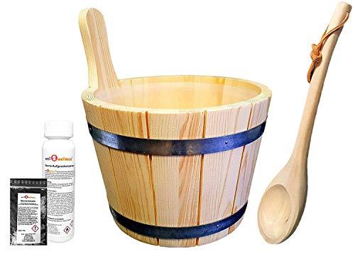 well2wellness® Saunaeimer / Saunakübel Nadelholz 5,0 l inkl. Einsatz + Schöpfkelle plus gratis Mentholkristalle + Saunaaufguss