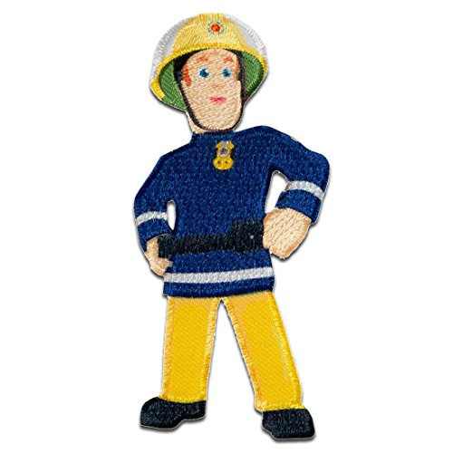 feuerwehrmann sam aufnaeher Aufnäher/Bügelbild - Feuerwehrmann Sam Sam - blau - 8,3x4cm - © Prism Art & Design Limited Patch Aufbügler Applikationen zum aufbügeln Applikation Patches Flicken