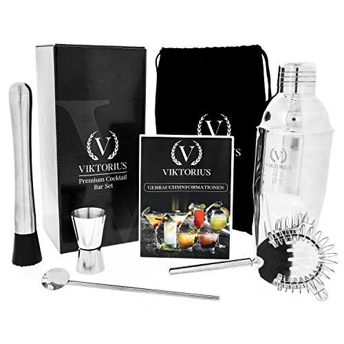 VIKTORIUS Cocktailshaker Set – Premium Bar Cocktailset aus Edelstahl mit Zubehör: Professioneller Cocktail Shaker/Mixer/Martinishaker mit Messbecher, Sieb, Barlöffel, Stößel, Cocktailrezepte + Tasche