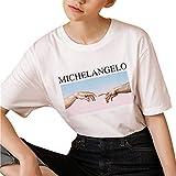 FRAUIT Damen/Mädchen Übergröße Kurzarm Lose T Shirt 3D-Briefdruck Kurzarm Sweatshirt Pullover