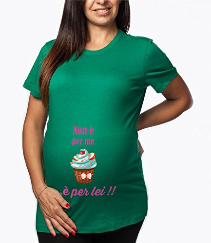 """Tshirt lunga da donna ideale per il premaman, """" non è per me è per lei"""" stampa divertente - Tutte le taglie by tshirteria verde"""