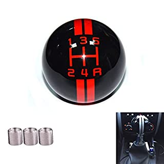 AutoBoy Stripes 5 Speed Gear Stick Shift Shifter Knob Lever Cover Universal Fit Most Manual Automatic Transmission without button(Black+Red)