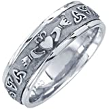 Little Treasures - 14 ct White Gold Celtic Claddagh Wedding Band 7MM