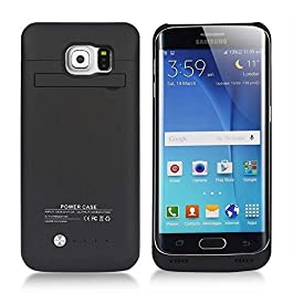 S6 Edge Battery Case COOLEAD 4200mAh Portable Charger Case External Battery Pack Power Bank Charging Case with Stand for Samsung Galaxy S6 Edge