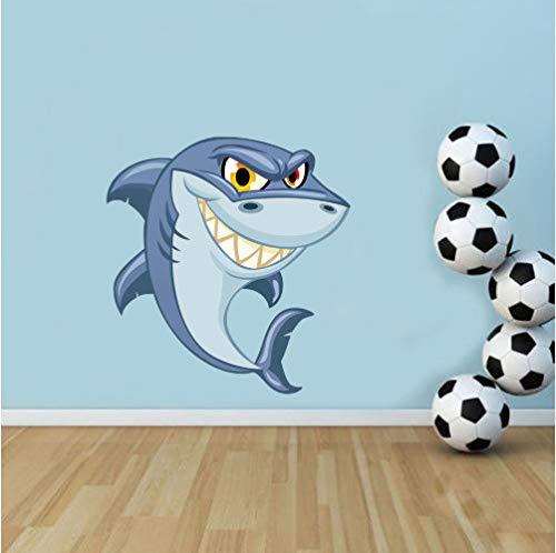 r Wandtattoo Shark Sea Life Farbige Wandkunst Aufkleber Kinderzimmer Kindergarten Abnehmbare wasserdichte Tapete Jungen Mädchen Bad Schlafzimmer Dekor ()
