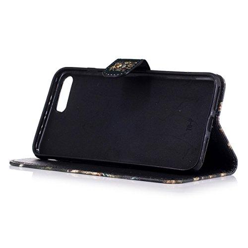 iPhone 7 Plus Hülle,iPhone 8 Plus Hülle,iPhone 7/8 Plus Ledertasche Handyhülle Brieftasche im BookStyle,Saincat Kreative Karikatur Muster PU Leder Hülle Wallet Case Folio Schutzhülle Scratch Bumper Ku Löwe