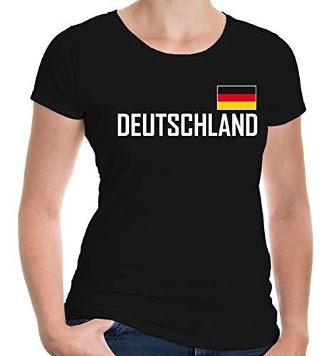 buXsbaum Damen Girlie T-Shirt Deutschland Germany Allemagne Alemania Europa   Ländershirt Trikot Flagge Reise   S, Schwarz