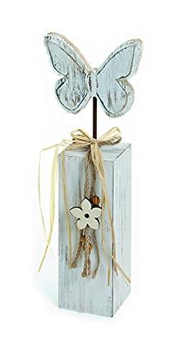 Deko Figur Schmetterling Falter auf Holzblock Pfahl 34 cm groß aus Holz antik weiß Shabby Landhausstil, Dekofigur für Frühling und