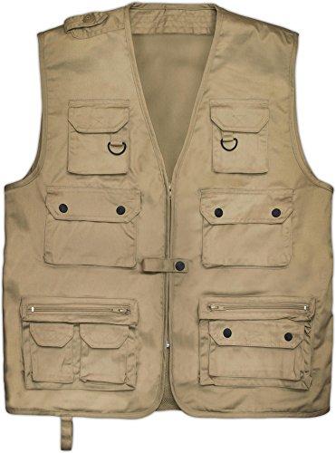 normani Outdoor Jagd- Angler Weste mit vielen praktischen Taschen? Farbe Khaki Größe L