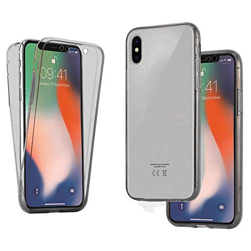 Price comparison product image For iPhone XS Case 5.8 Inch Front & Back Clear Soft TPU Gel Case Bumper Slim Transparent Protective Cover Case Shock-Absorption,  Anti-Scratch, HD Clear,  for Apple iPhone X and iPhone XS (Grey)