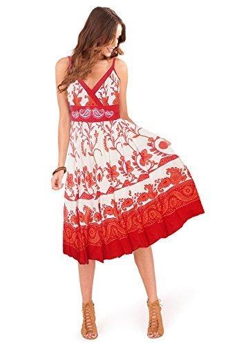 Hübsch Damen Tier & Blumenmuster Shorts Riemchen V Ausschnitt Kleid, rosa oder blau - Rot Weiß Wirbel/Blumenmuster, L (44-46) (Short Plissee-kleid)