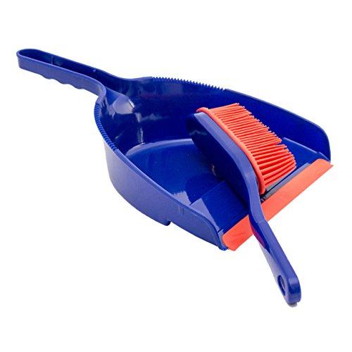 Lantelme 6813 Kehrgarnitur mit weicher Gummilippe - Gummibesen Set mit Handfeger und Schaufel - Farbe blau und rot