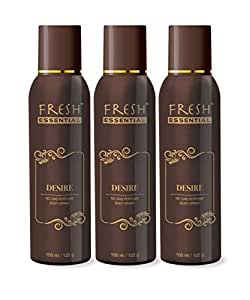 Fresh Essential Desire No Gas Deodrant - 150 ml (Pack of 3)
