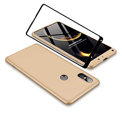 YFXP Xiaomi Mi Mix 2S Funda - Funda Xiaomi Mi Mix 2S 360 Grados Integral para Ambas Caras + Cristal Templado, Luxury 3 in 1 PC Hard Skin Carcasa Case Cover para Xiaomi Mi Mix 2S Oro