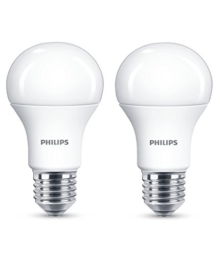 Philips 929001234561 - Pack de 2 Bombillas LED Estándar, Casquillo, Consume Equivalente a 100 W, No Regulable, Luz Blanca E27, 13 W, Cálida