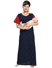 Tucute Women's Cotton Self Printed Feeding / Maternity / Nursing Nighty