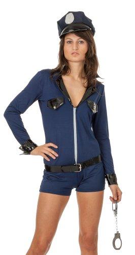spass42 Damen Kostüm Polizei Overall und Kappe Polizistin Cop Uniform für Mottoparty Halloween Karneval Groesse: L/XL