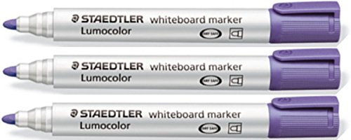 staedtler-lumocolor-purple-bullet-tip-whiteboard-board-markers-3-pack-glass-porcelain-dry-wipe-fast-