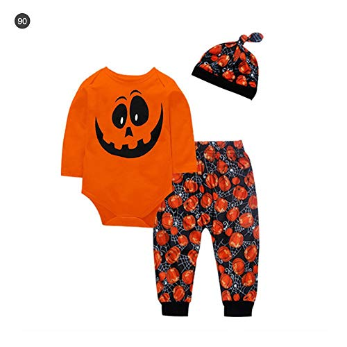 Baby Anzüge für Halloween, 3 Stück/SetNeugeborene, Babykleidung, Halloween-Kostüm, lange Ärmel, Hosen und Hut, Halloween, Kürbis-Muster, Anzug für Babys, weiche Baumwolle, 70/80/90/100 cm