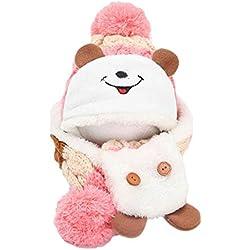kingko® Mignon hiver bébé Enfants Filles Garçons Réchauffez laine Coif Capuche Écharpe Caps Chapeaux (Rose)