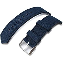 22mm MiLTAT WW2 Navy Blue Washed Canvas Watch Band, lockstitch pin-hole, BL