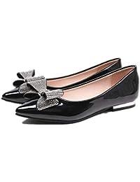 1d3d81f20b1a2c ZHRUI Rhinstone Ballerinas Frauen Knoten Spitz Schuhe (Farbe   Schwarz