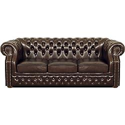 Casa-Padrino Lujo Genuino Cuero sofá 3 plazas marrón Oscuro 210 x 90 x H. 80 cm - Sofá Chesterfield