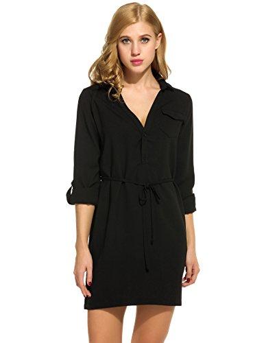 Meaneor Damen Mini Hemdkleid Chiffon Kleid Blusenkleid Lang Ärmel Minikleid V-Ausschnitt Mit Gürtel