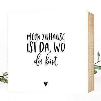 Wunderpixel® Holzbild Mein Zuhause ist da, wo du bist – 15x15x2cm zum Hinstellen/Aufhängen, echter Fotodruck mit Spruch auf Holz – schwarz-weißes Wand-Bild Aufsteller Dekoration und Geschenk-Idee