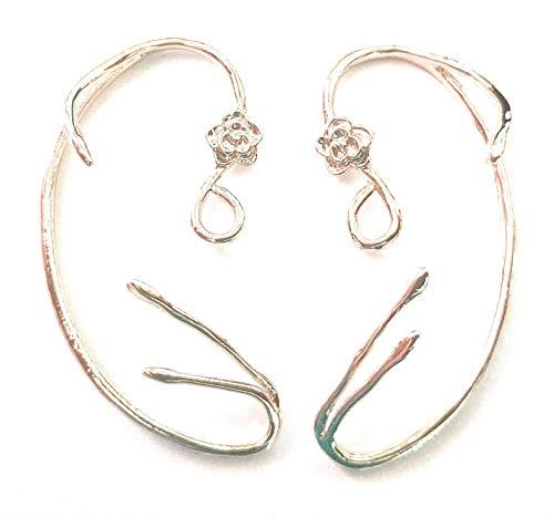 auty and the Beast Earrings Ear Cuff Belle Cosplay Jewellry Copper Rose Stud Earrings ()