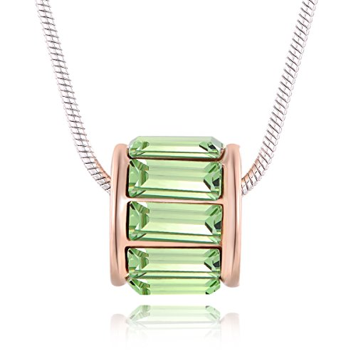 City Ouna® Swarovski Elemente grün Crystal Runde 18K Weissgold plattiert Legierung Anhänger Halskette mit österreichischen Kristall für Damen Valentine Geschenk,Weihnachten Geschenk,Monther's Day