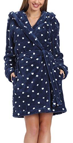 L&L Damen Bademantel mit Kapuze Darcy Short (Weiß Sterne/Navy, M) (Navy Sterne)