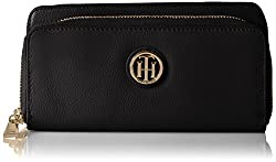 Tommy Hilfiger Th Leather Double Zip Wallet Wallet, BLACK, One Size