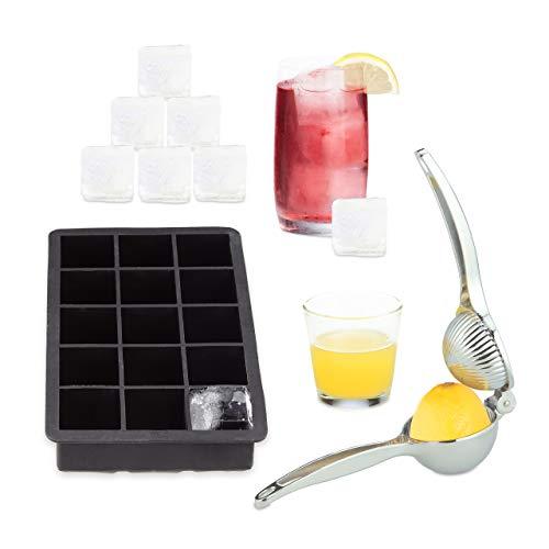 2 tlg. Eiswürfelform und Zitruspresse Set, Saftpresse manuell, Silikonform Eiswürfel, Limettenpresse, Eiswürfelbereiter