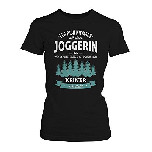 Fashionalarm Damen T-Shirt - Leg dich niemals mit einer Joggerin an | Fun Shirt mit Spruch als Geschenk Idee für Läuferinnen Schwarz