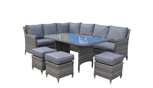 Signature Weave Eastleigh Ecke Esstisch Sofa mit 3Hocker in Korbgeflecht, grau, 250x 200x 86cm