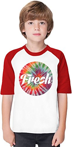 Fresh Tie Dye Soft Material Baseball Kids T-Shirt by Benito Clothing - 100% Organic, Hypoallergenic Cotton- Casual & Sports Wear - Unisex for Boys and Girls 12-14 years
