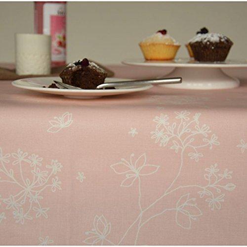 Fleur De Soleil n240cleu Tischdecke QUADRATISCH Beschichtete Baumwolle 160x 200cm, Stoff, rosa / weiß, 240x160x0.2 cm (Rosa Quadratische Bettwäsche Tischdecke)