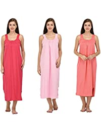Ishita Fashions Cotton Gown Slip - Cotton Nighty - 3 PCs - Pink, Baby Pink and Carrot Pink