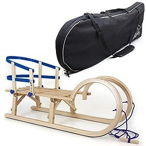 Holzfee Klappschlitten Hörnerschlitten mit Leine Schlittenlehne Schlittentasche Set Tourer Baran 100 cm