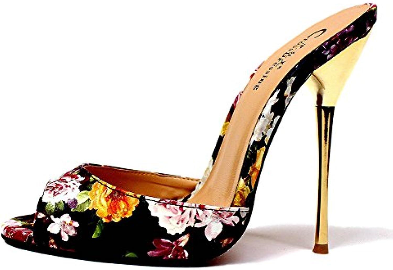 Donna Pantofole Sandali Sandalo Le Signore Stiletto Alto Tacco Scarpe Scivolare Su Sbirciare Dito Del Piede Nero... | Ultima Tecnologia  | Uomini/Donne Scarpa