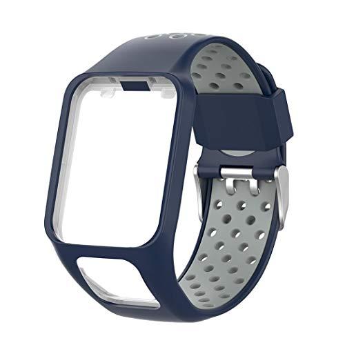 Kimi Like Armband Kompatibel für Tomtom Spark 3 Cardio Music Runner 2 Serie, zweifarbige wasserdichte Silikon Ersatzuhrenbänder für Tomtom Spark 3 Cardio Music Runner 2 Serie uhrenarmband