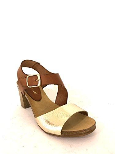 Sandali tacco medio CC942 in pelle blu cuoio nero cinturino MainApps Cuoio