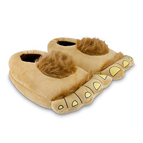 Grinscard ciabatte in peluche motivo hobbit - marrone dal numero 36 al 43 - pantofole antiscivolo ideali come regalo
