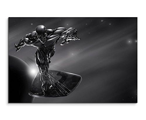 Silver Surfer Superhero Wandbild 120x80cm XXL Bilder und Kunstdrucke auf Leinwand