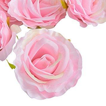 50 Stk. 10cm künstliche Seide Rosen Köpfe Hochzeit Blumendekoration (Rosa)