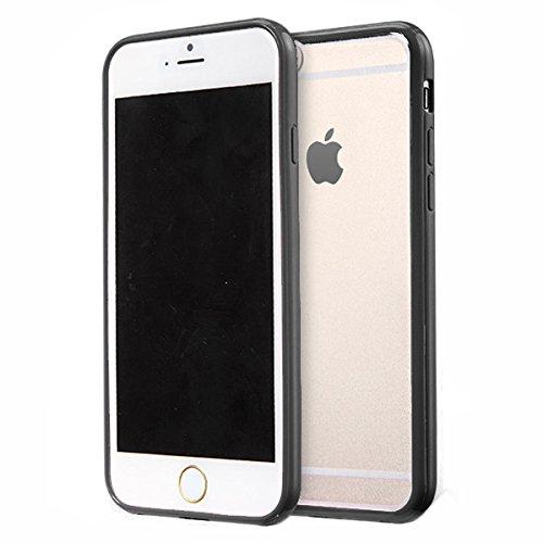 Jante Arrière PC Mat avec Bumper en silicone TPU Coque pour iPhone 6/6S 11,9cm + Film protecteur d'écran noir