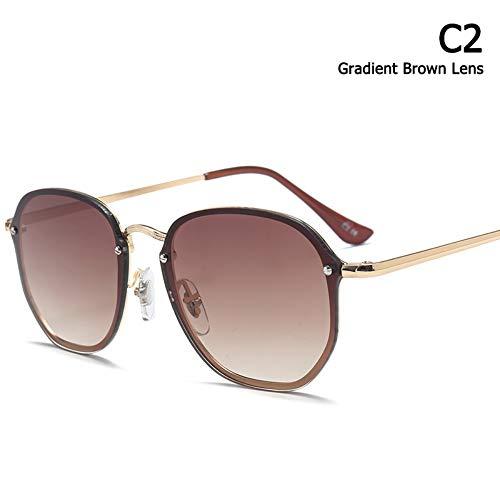 ZHOUYF Sonnenbrille Fahrerbrille Mode Trend Blaze Stil Runde Sonnenbrille Frauen Männer Vintage Klassische Marke Design Sonnenbrille Oculos De Sol, B