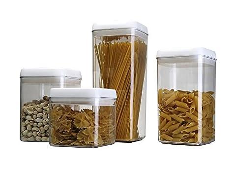 ABO Lot de 4 boîtes de conservation en plastique,