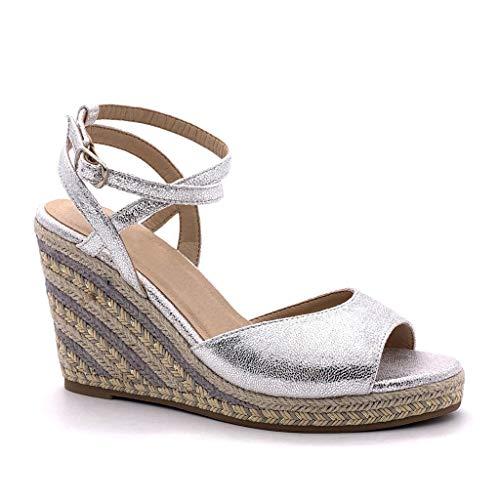 Angkorly - Damen Schuhe Sandalen Espadrilles - Folk/Ethnisch - Böhmen - Offen - Seil - mit Stroh - Multi-Zaum Keilabsatz 10 cm - Silber YL130 T 36 -